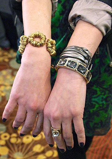 Gold Circle Bracelet and Multichain bracelet by