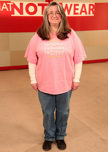 Meet Kathy, a widowed 45-year-old mother of three and cancer survivor whose frumpy wardrobe of oversized t-shirts and sweat pants is uninspired. The loss of her husband combined with a poor body image has resulted in Kathy all but giving up on her style. Look through the pictures to see how Stacy and Clinton transformed this mom, helping her to overcome her body insecurities and embrace an empowering new look.