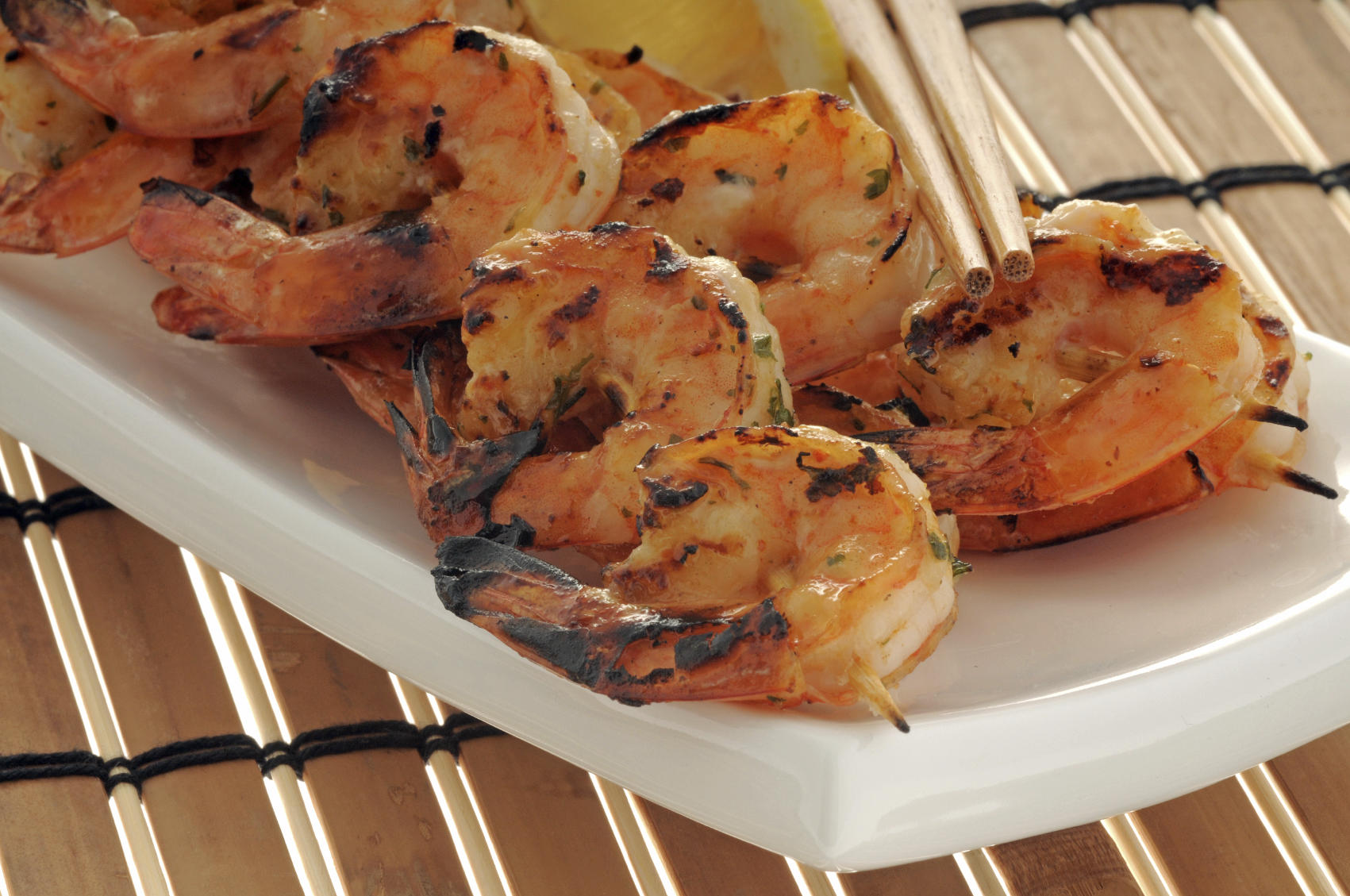 Simple Grilled Shrimp on skewers with fruit salsa