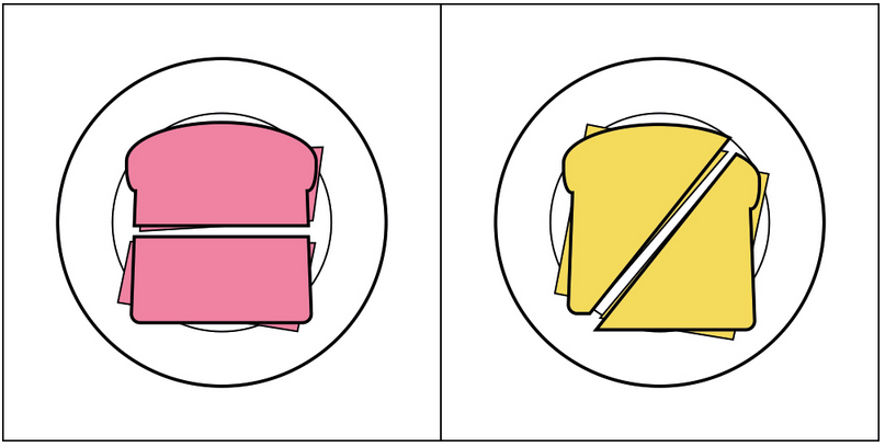 two sandwiches cut differently