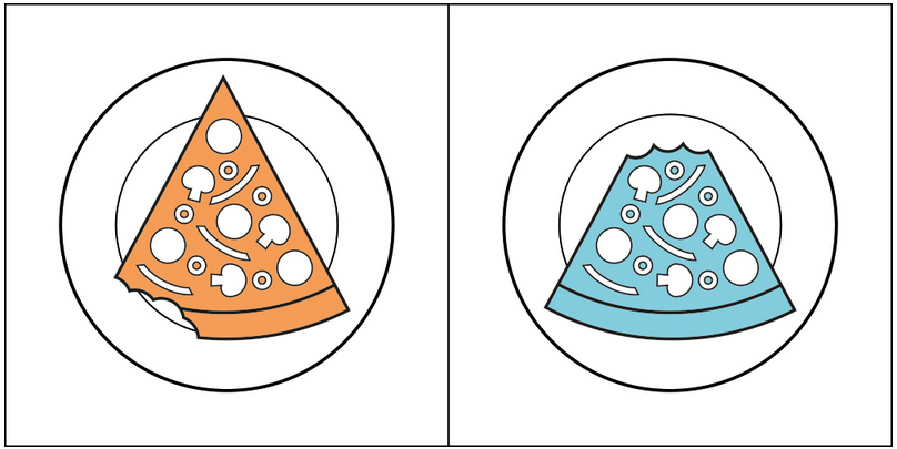 two images of pizza with bites