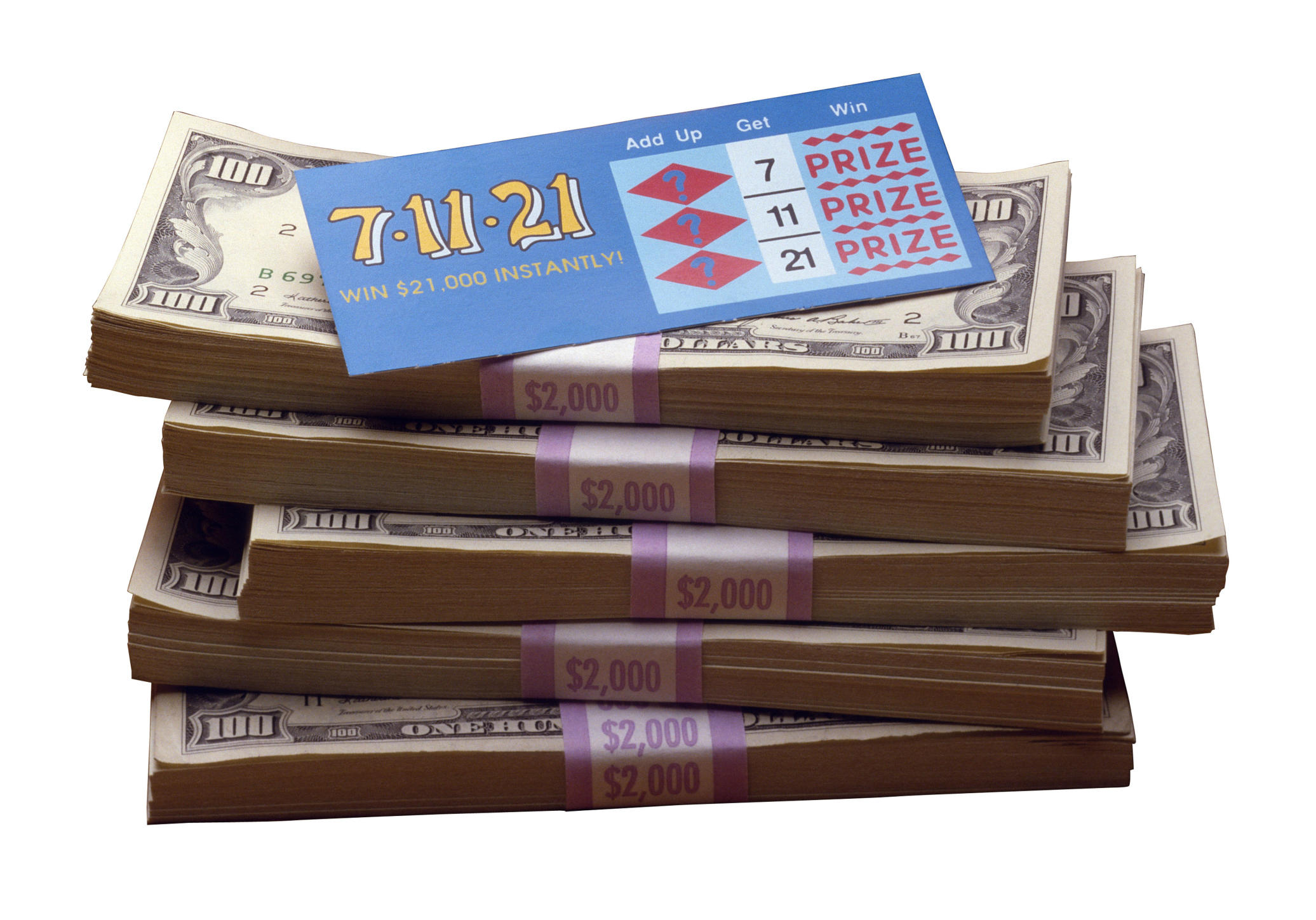 lottery tickets and cash