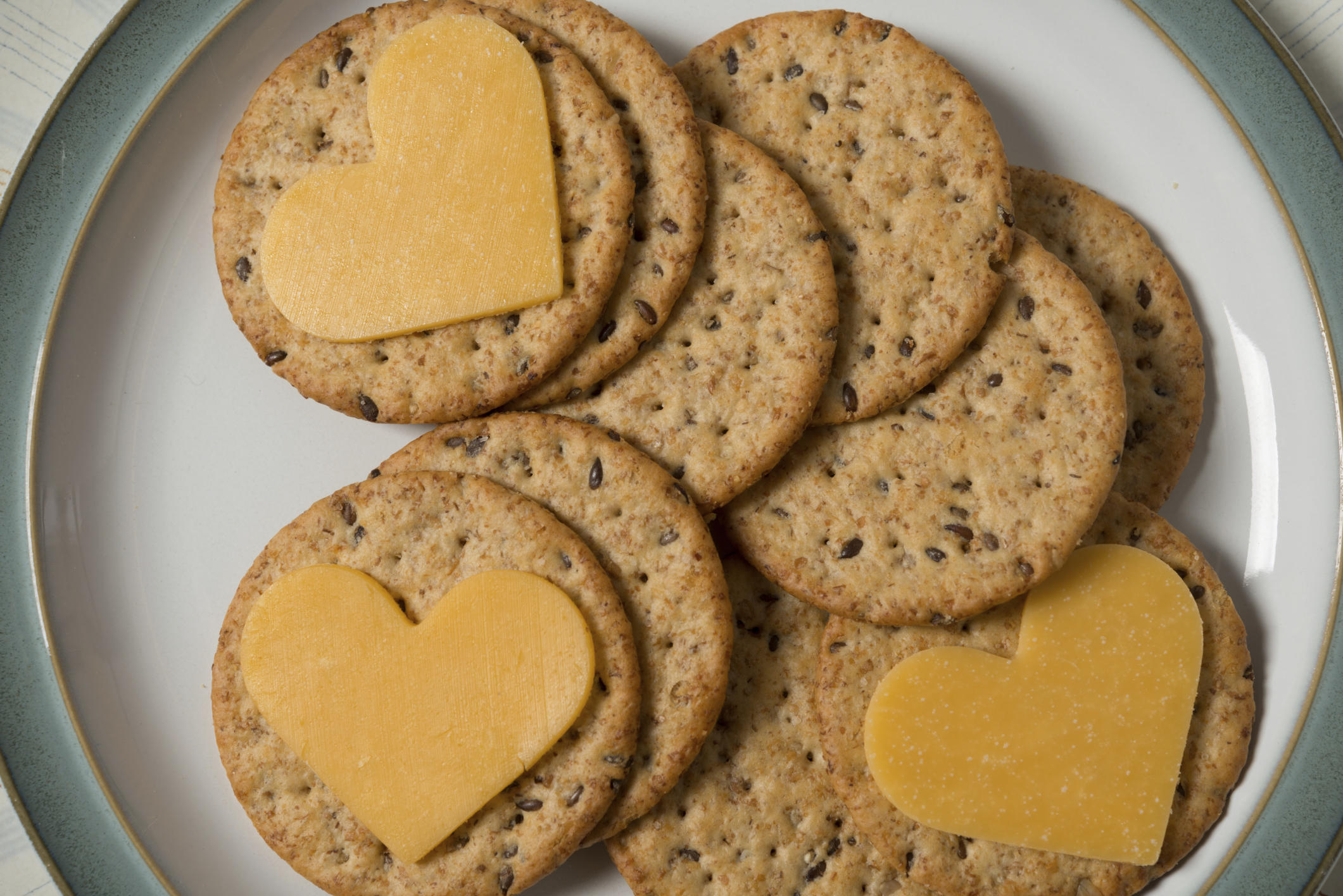 crackers with heart-shaped cheese