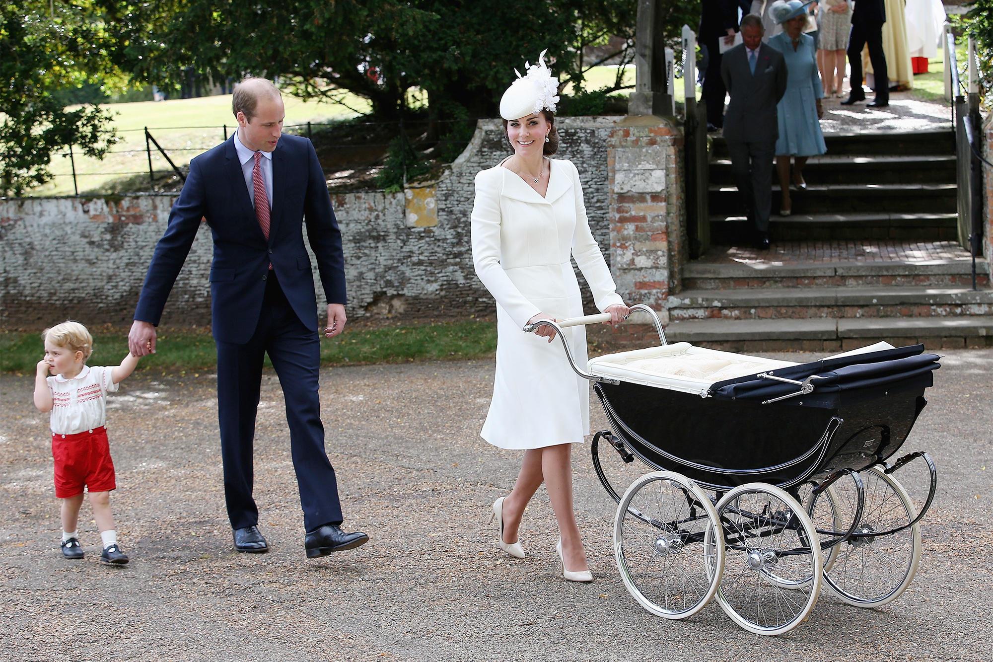 Kate Middleton pushing a stroller in heels