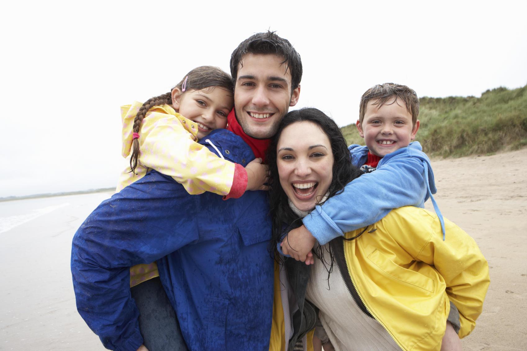 happy family on a beach