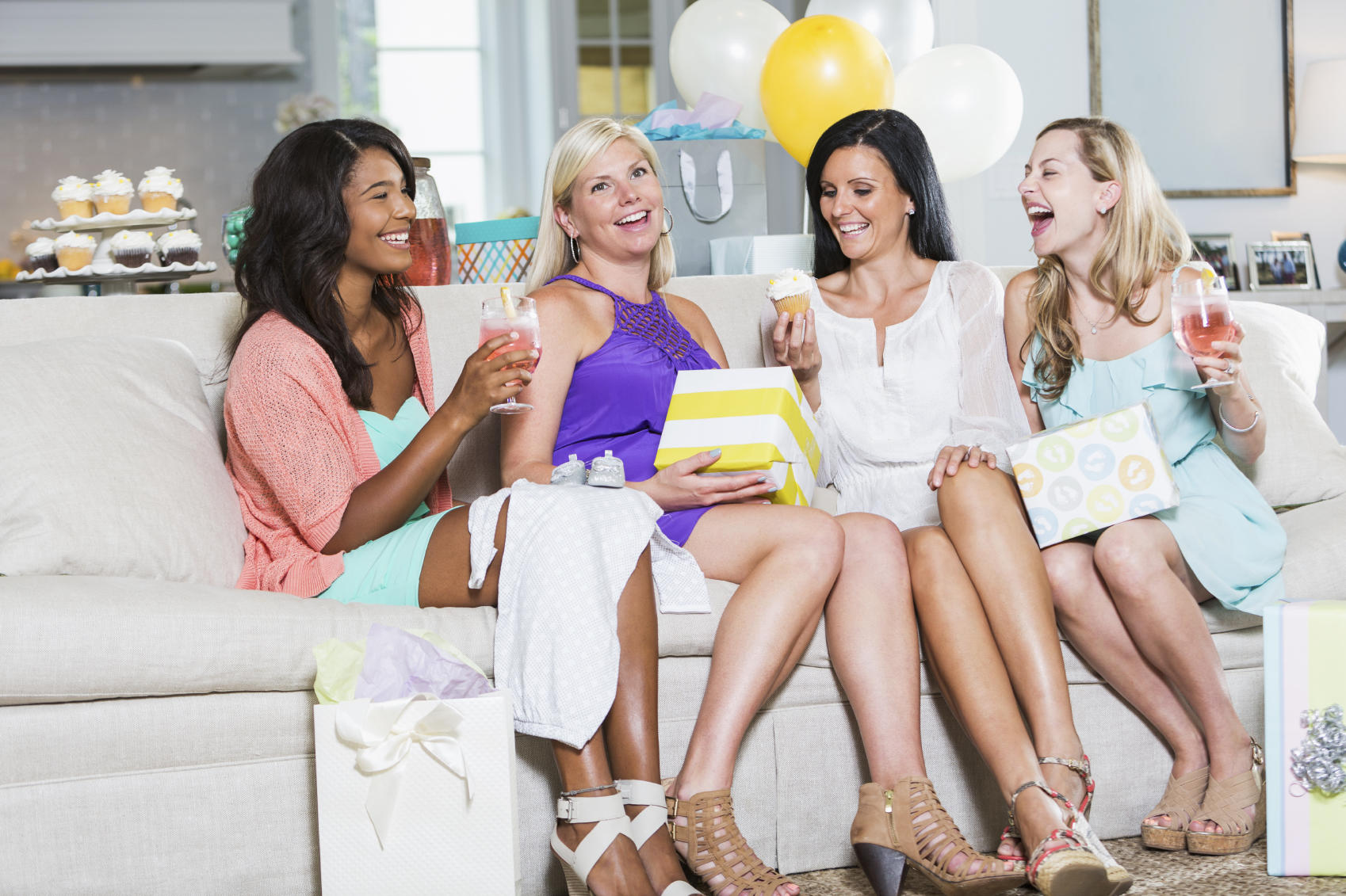 Friends having fun at a baby shower