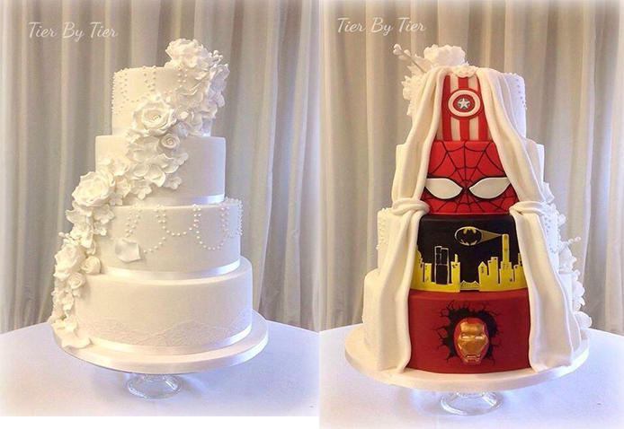 tier by tier s superhero wedding cake is business in the front party in the back tlcme tlc