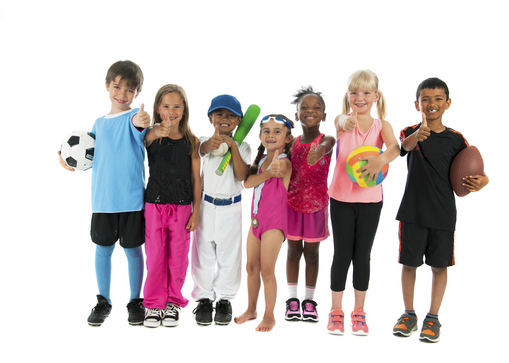 kids with a range of sporting goods
