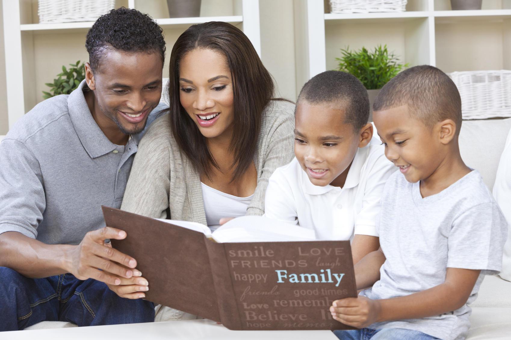 family with photo album