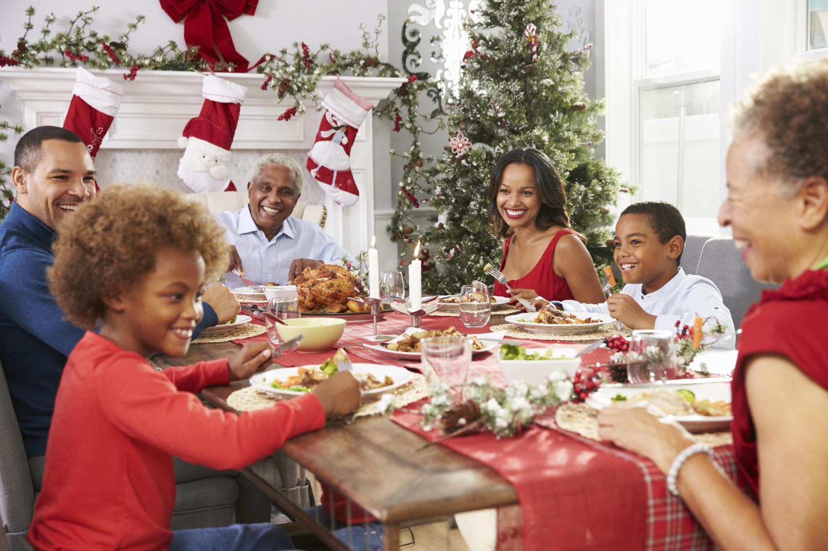 family at Christmas table