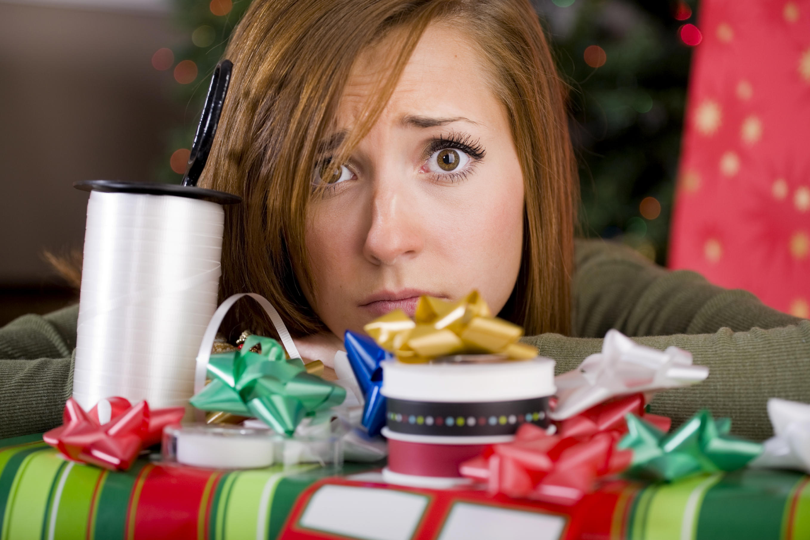 picture of woman stressing at holiday