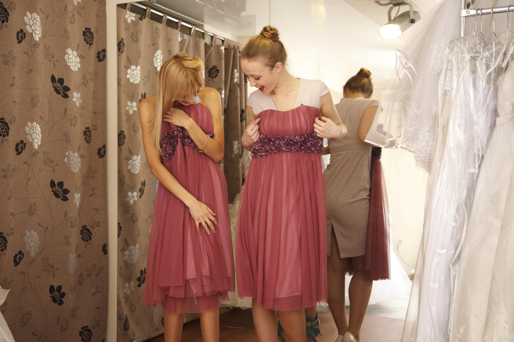 Having fun in bridal Boutique