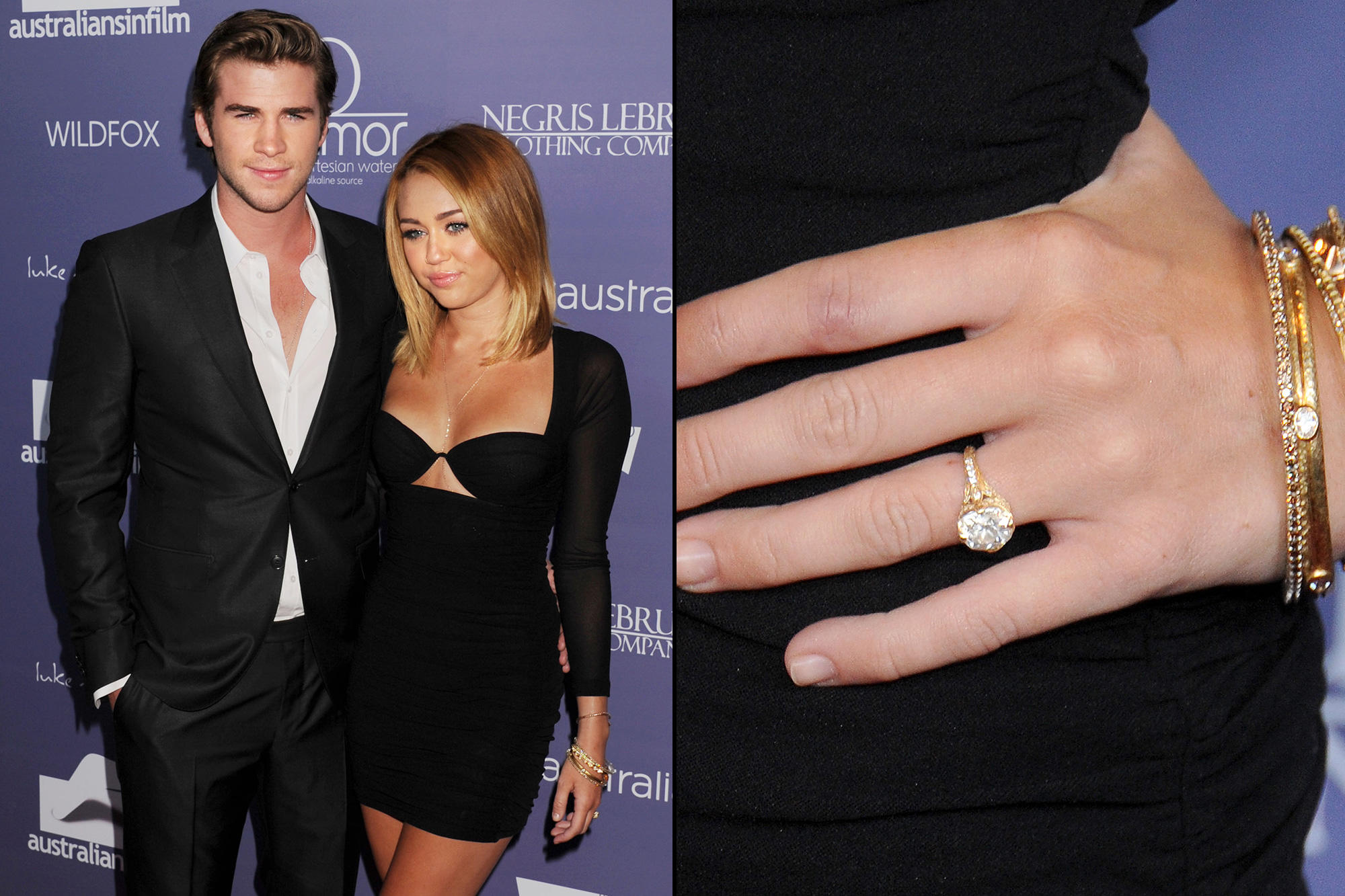 picture of miley cyrus engagement ring with liam hemsworth