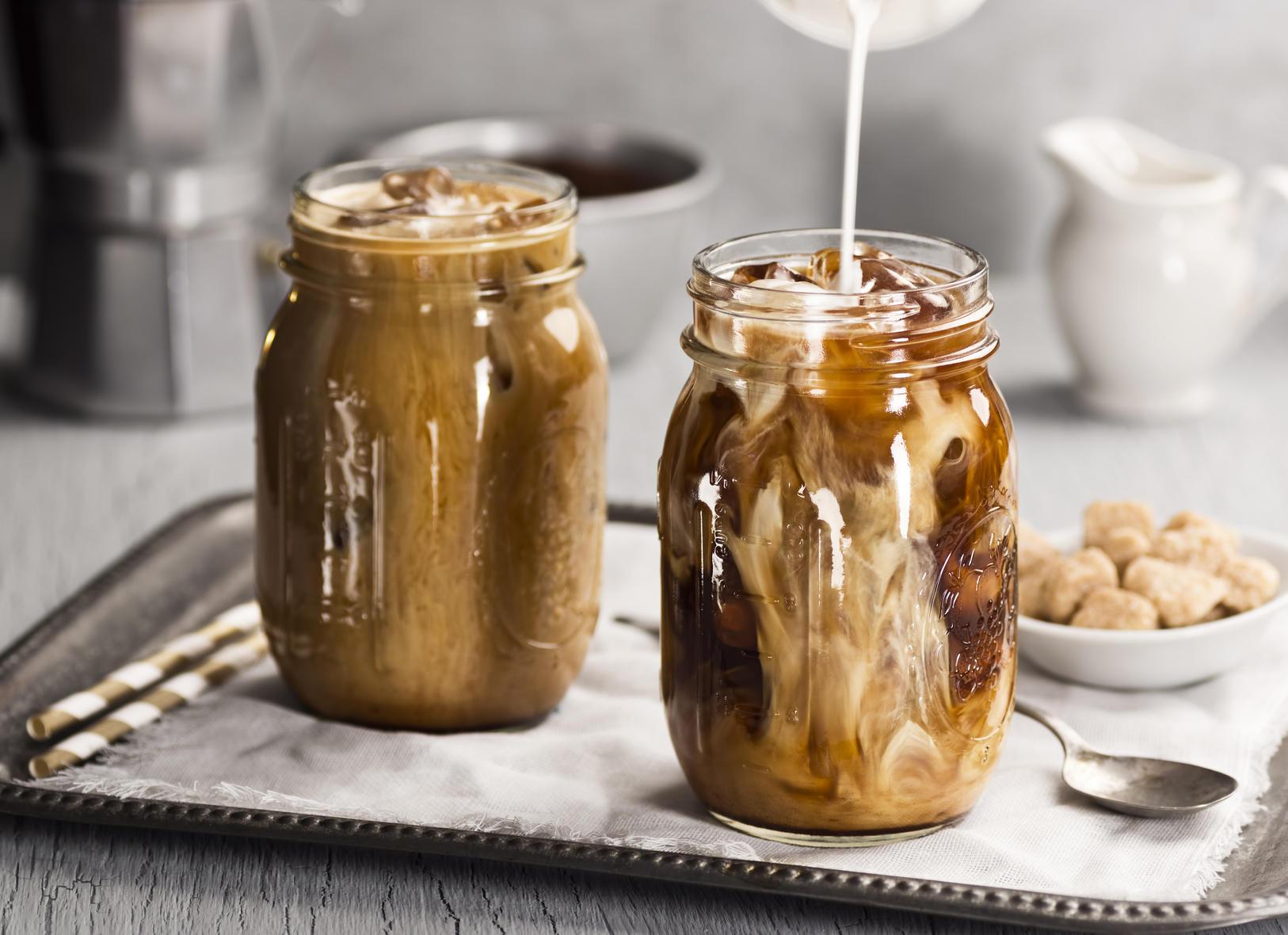 iced coffee with cream mason jars