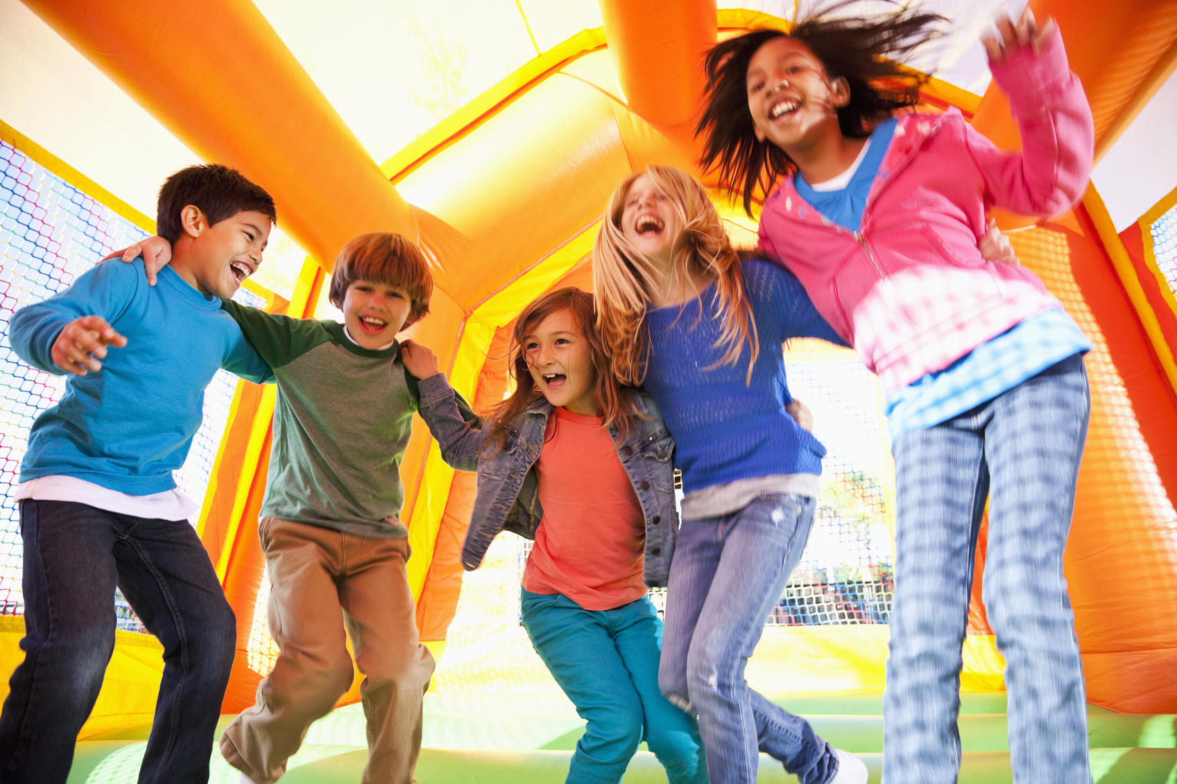 group of kids in bounce house