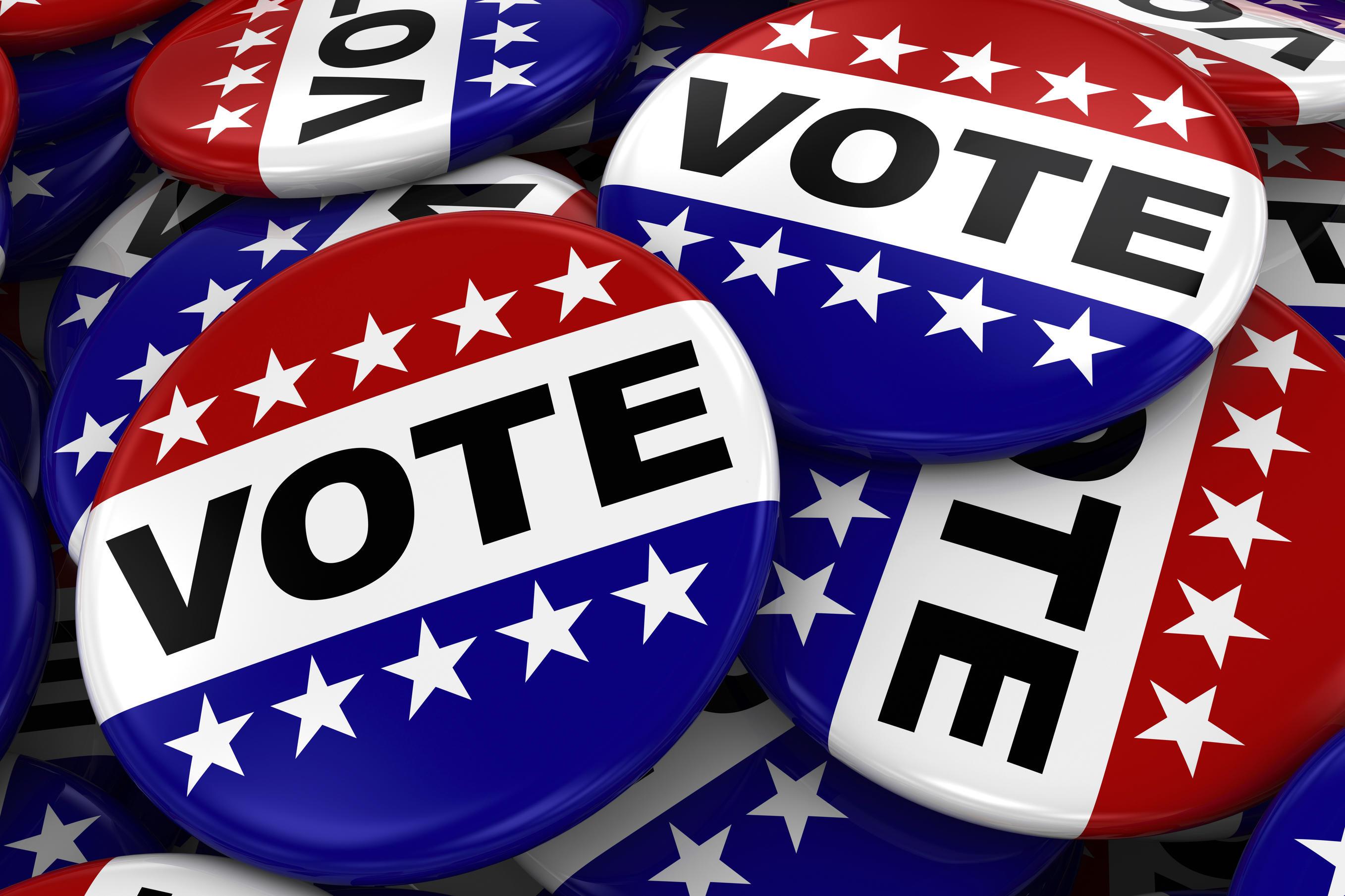 Patriotic vote buttons