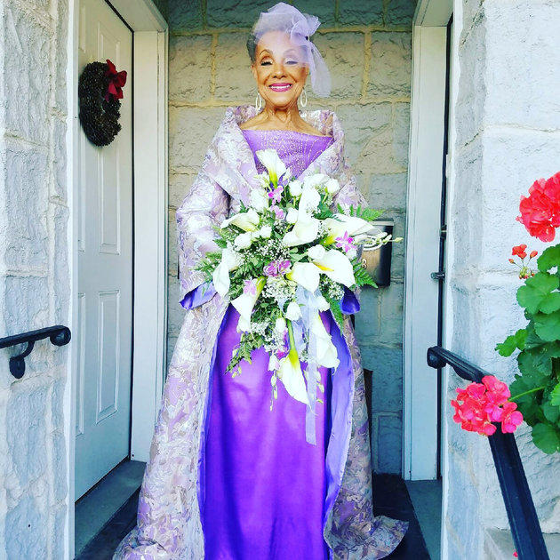 86 year old bride grandma in purple dress