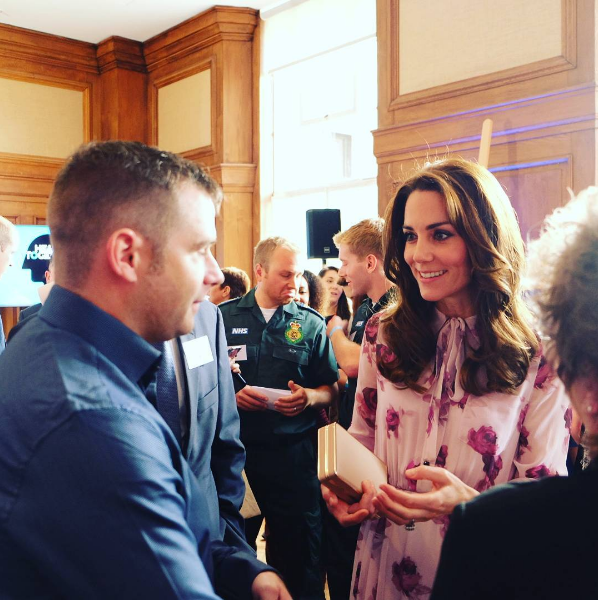 Kate Middleton talking to Mental health supporters