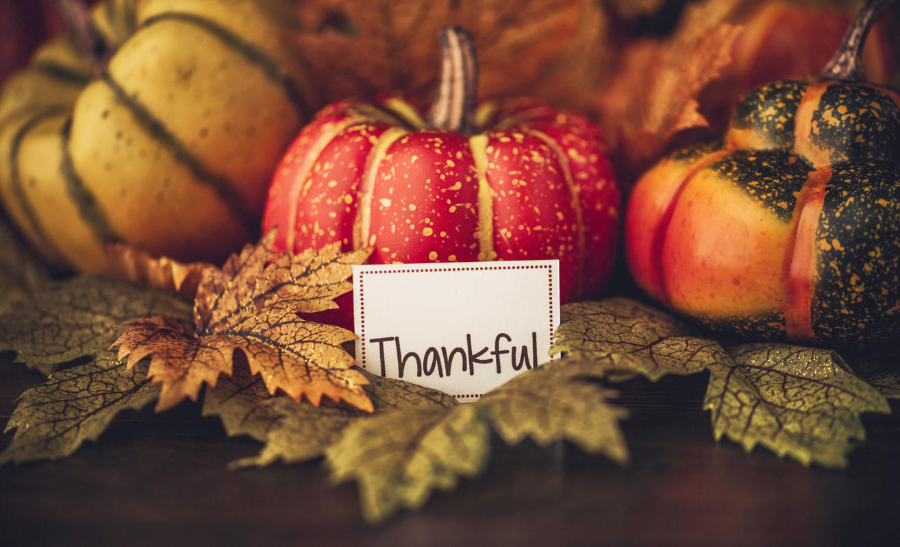 Thankful sign with pumpkins and autumn things