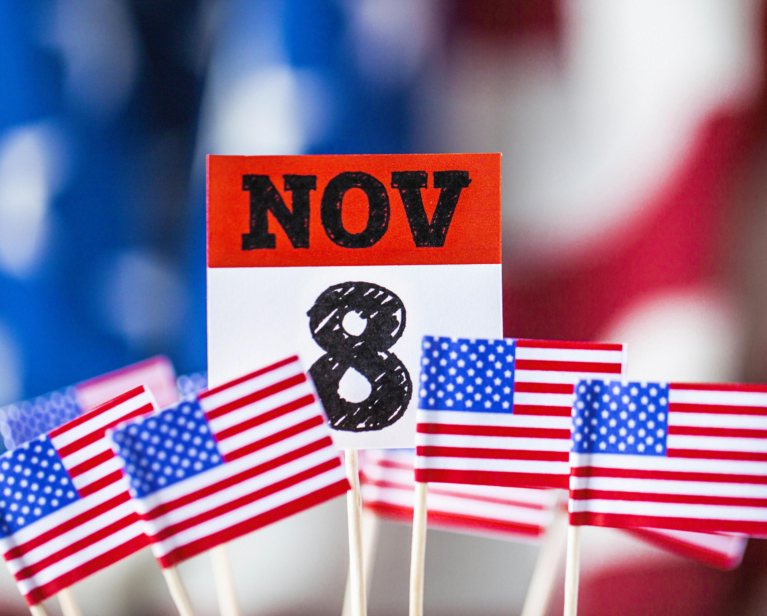 American flags and November 8th calendar date - election day