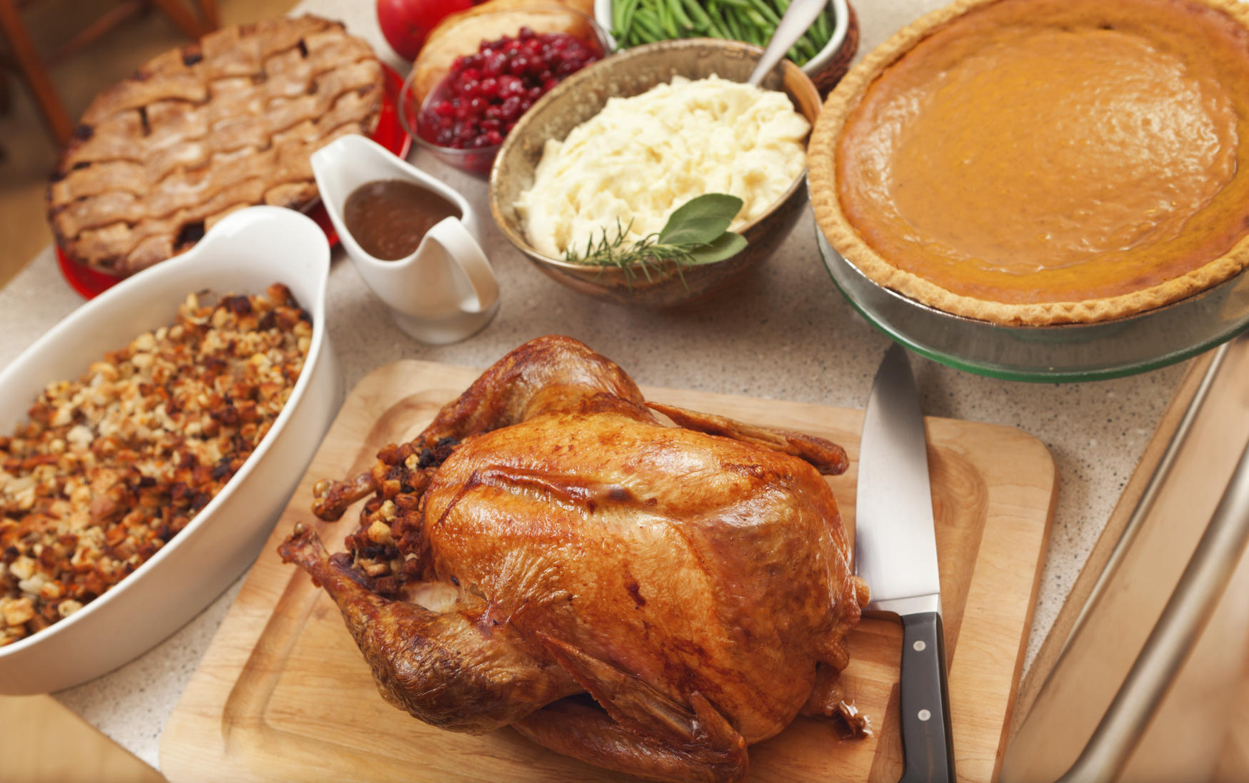 Thanksgiving dinner side dishes and turkey