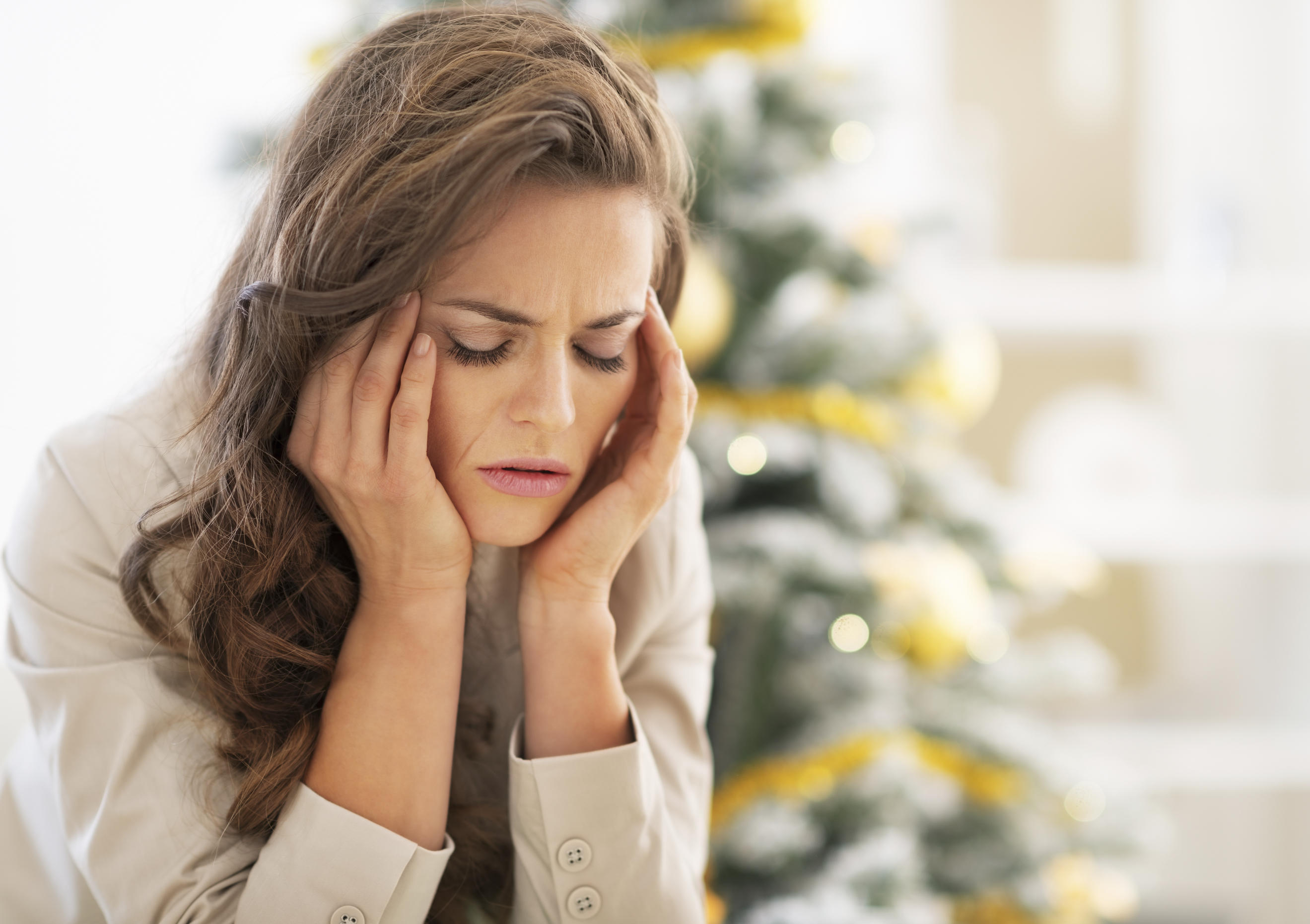 woman stressed over the holidays