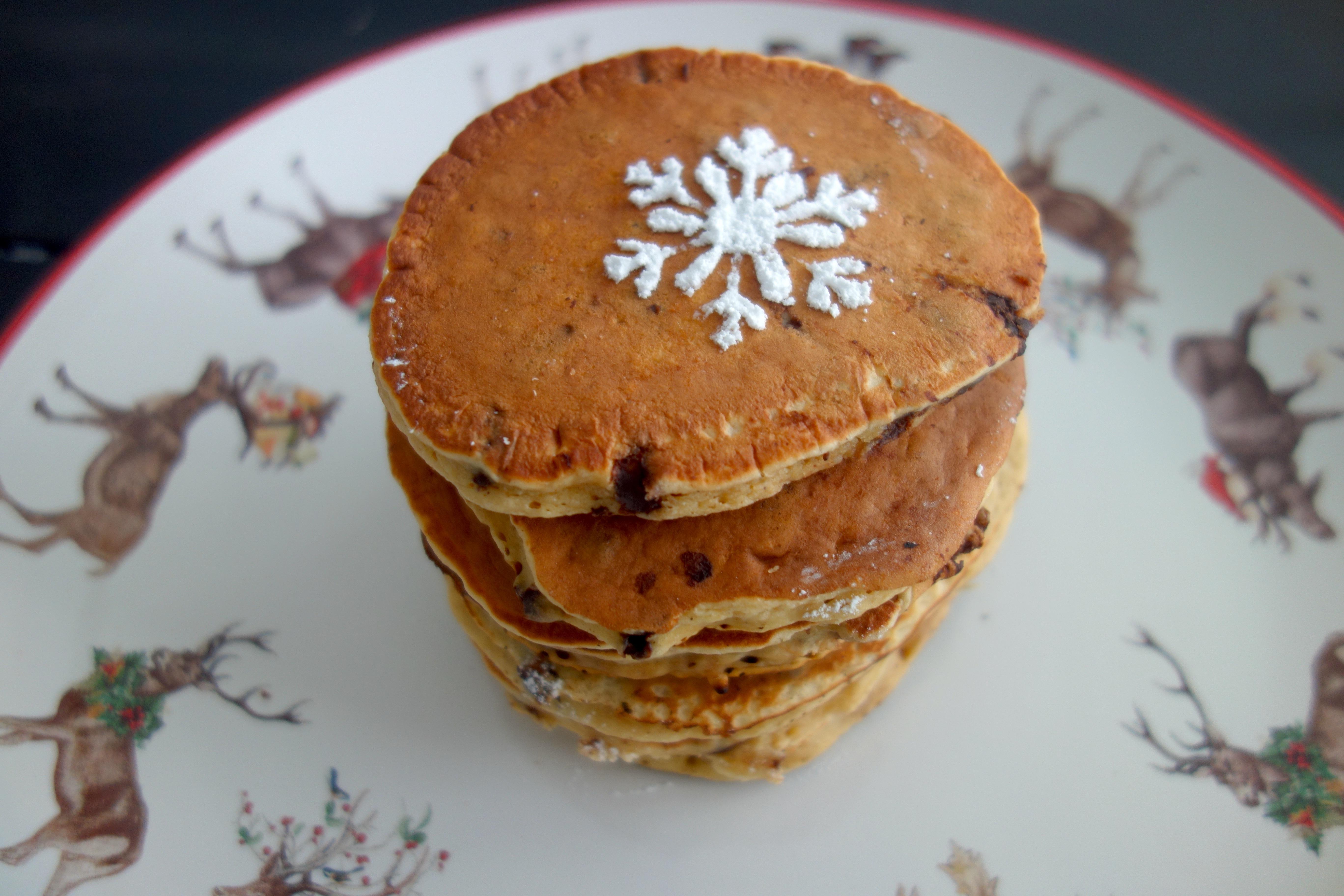 Chocolate Chip Egg Nog Pancakes