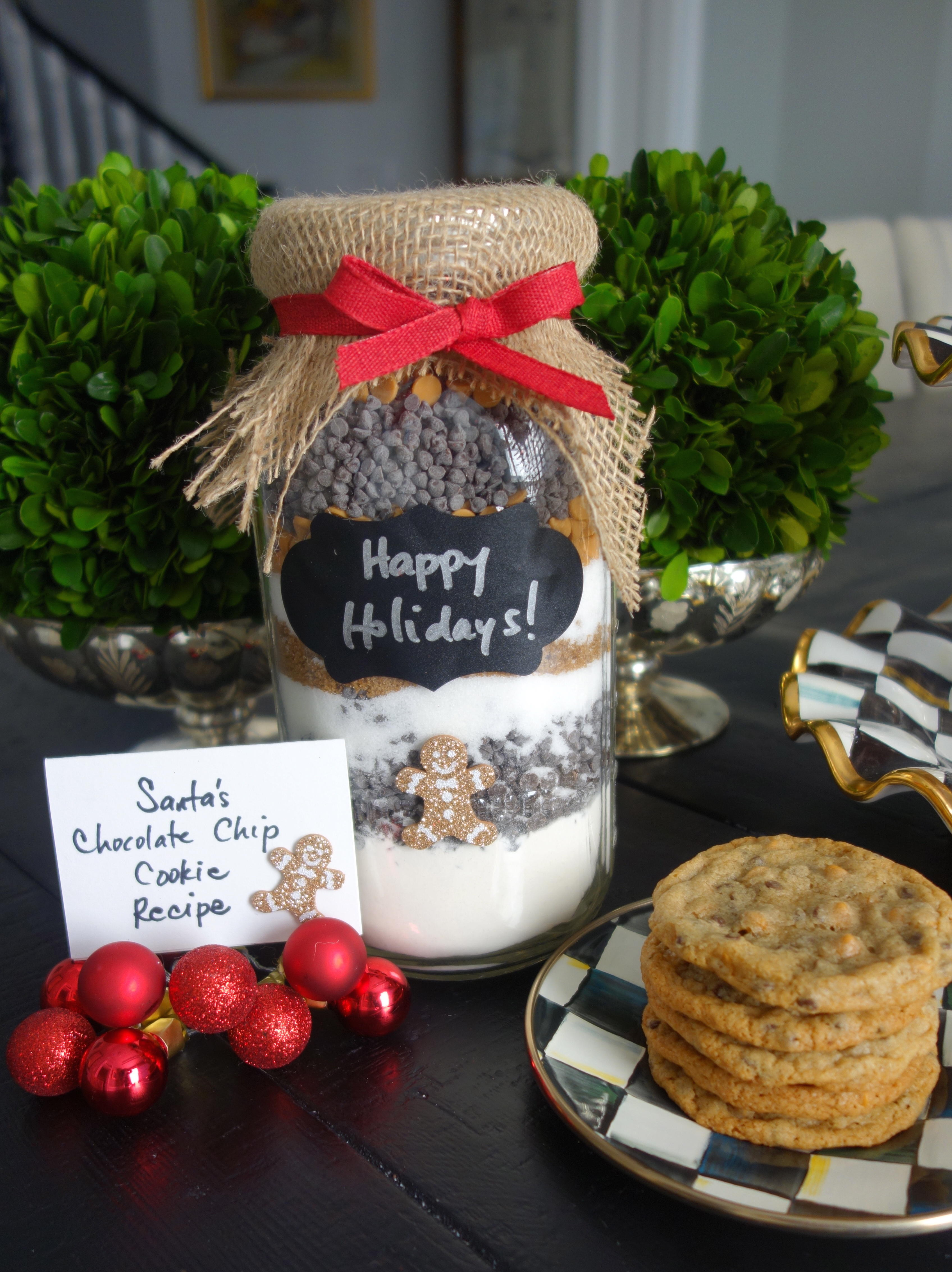 Santa's Chocolate & Butterscotch Chip Cookie Ingredient Mason Jar Holiday Gifts