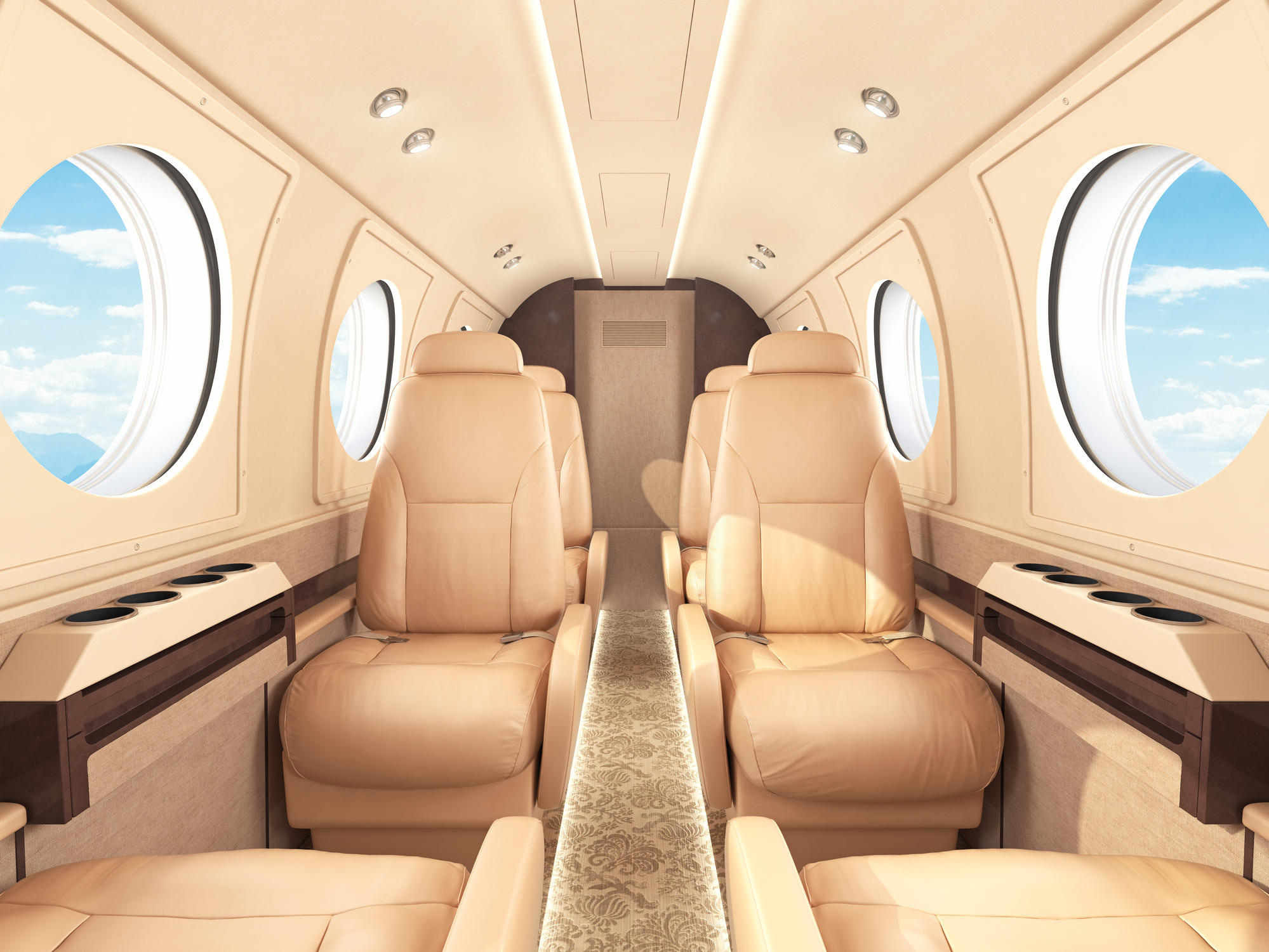 Interior of a business / private jet.