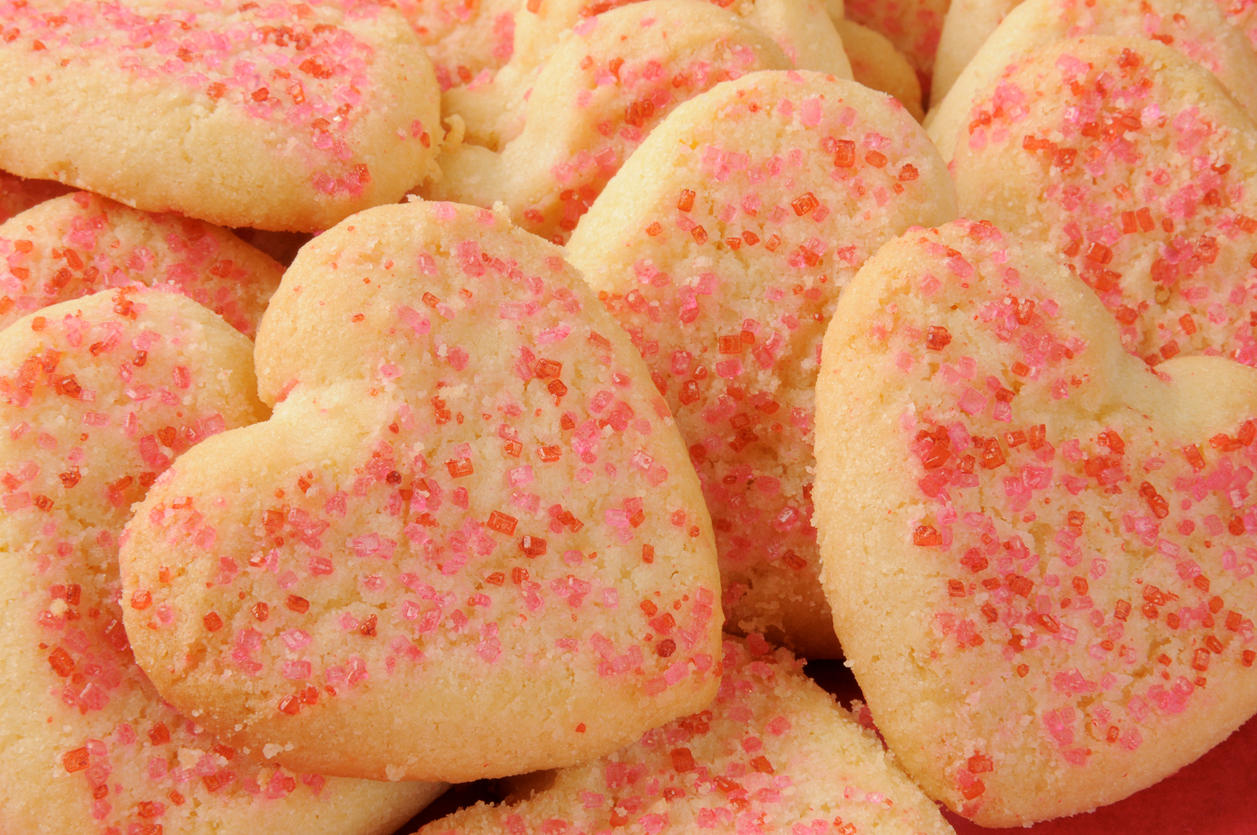 Heart shaped shortbread cookies sprinkled with sugar