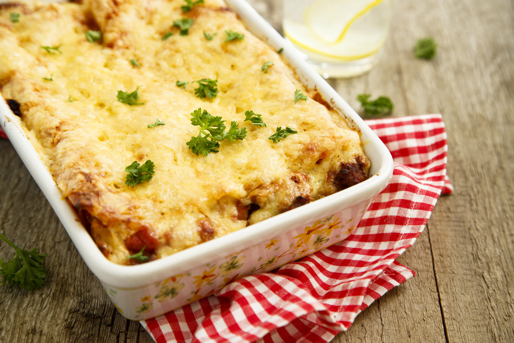 Lasagna with beef and tomato sauce
