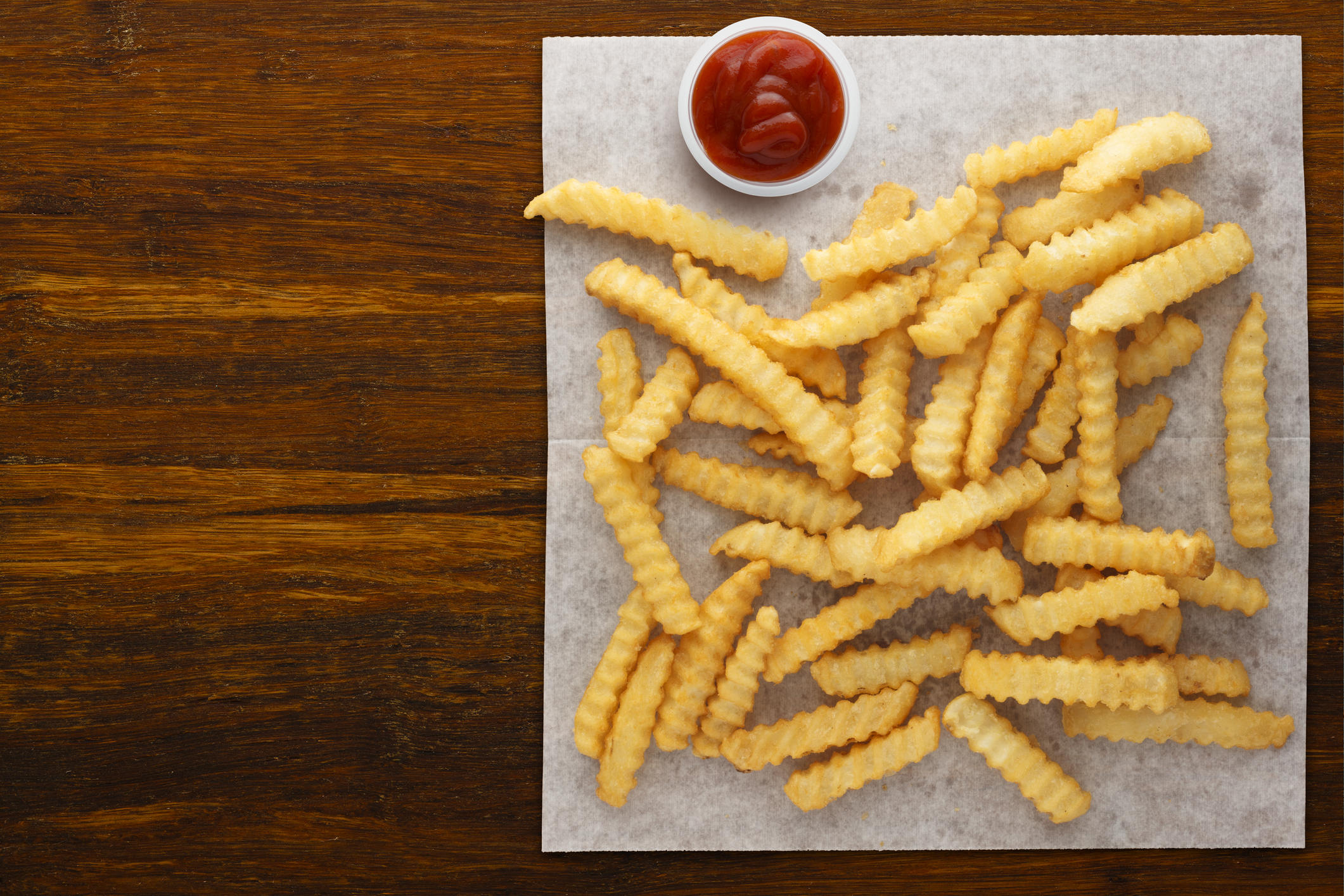 Krinkle Cut Fries and Ketchup