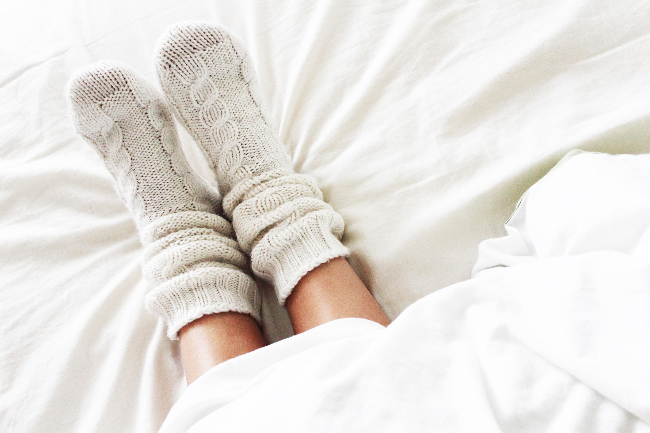 Cozy socks in bed