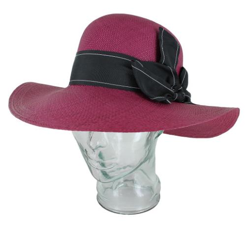 Magenta hat black ribbon