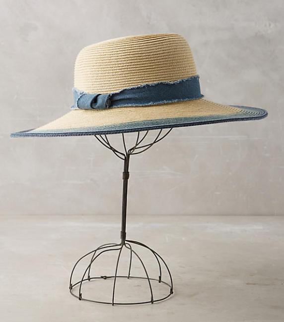 Straw and denim hat
