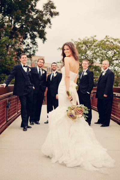 groomsmen admiring the bride
