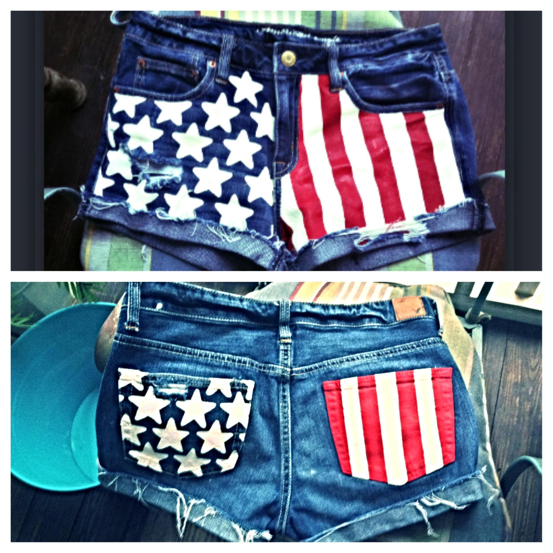 patriotic denim shorts