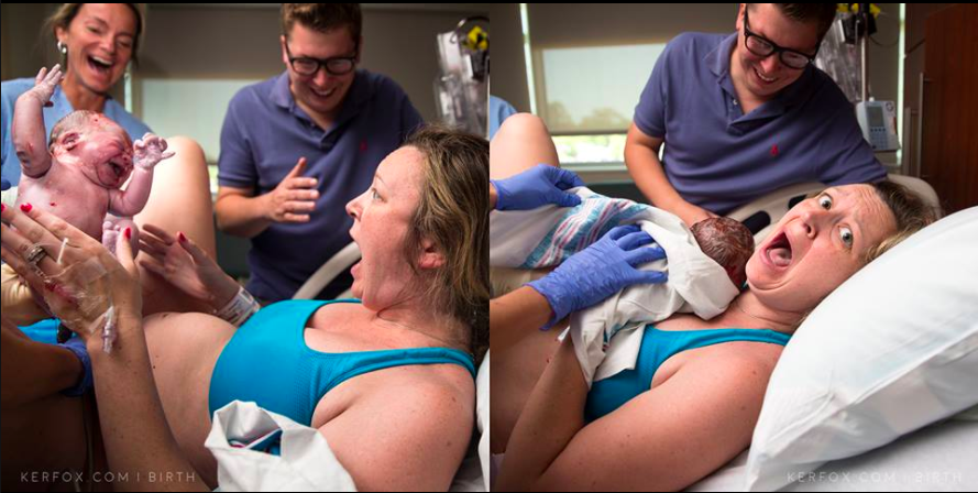 Shocked mom in delivery room