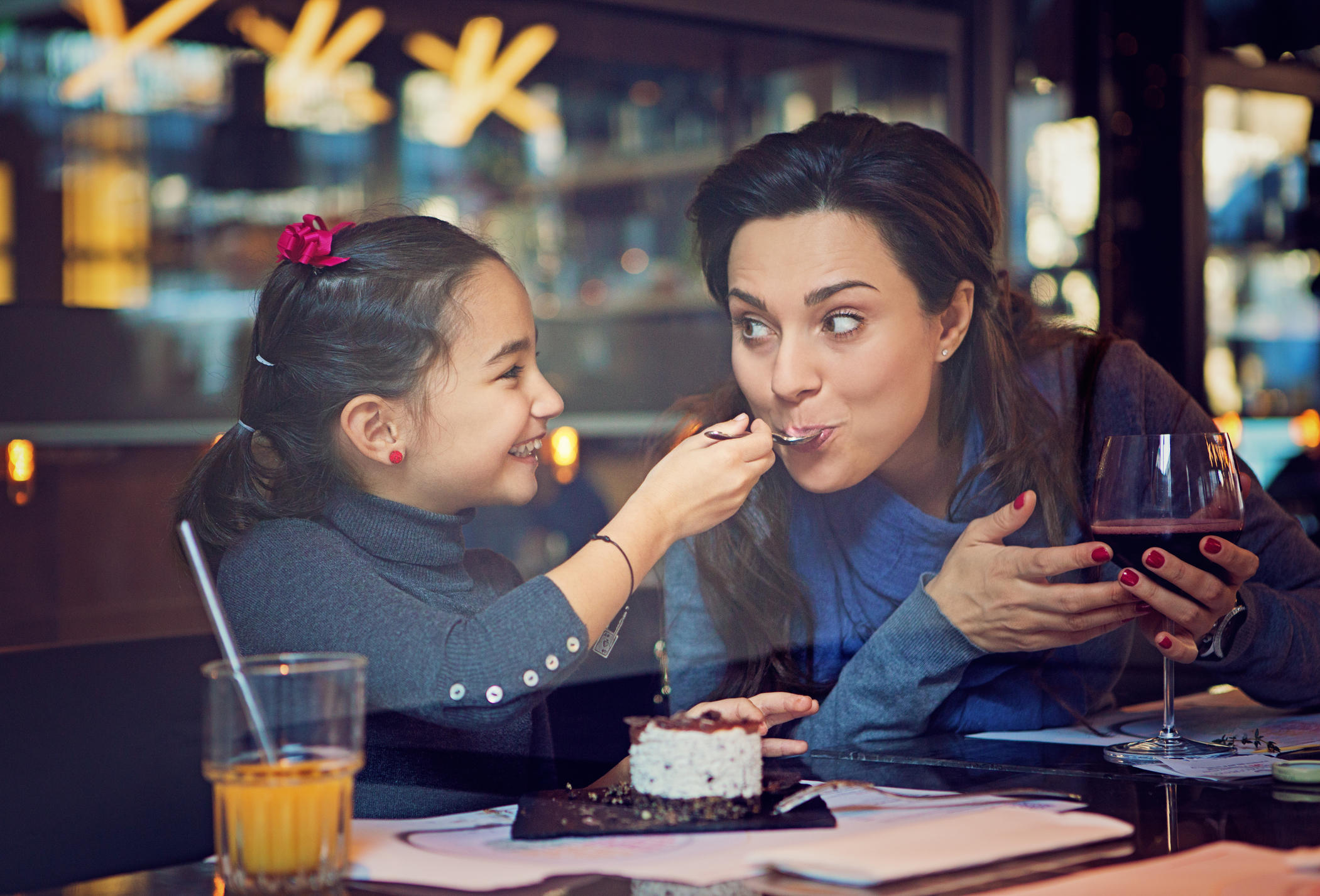 Mother and daughter out to eat