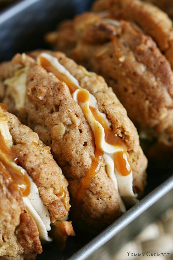 Carmel Apple Cookie Sandwiches