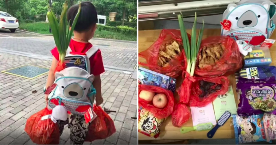 Little Boy in China with Good Luck Bags