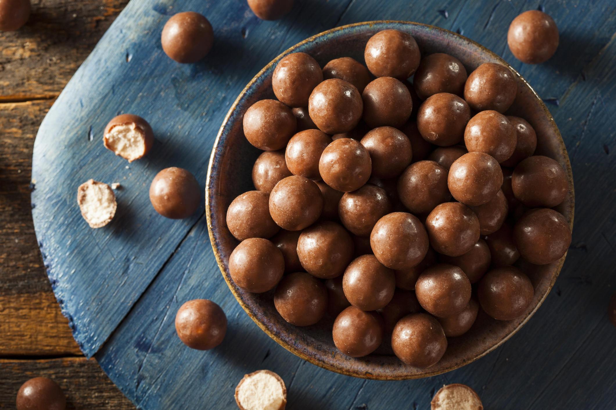 Dark Chocolate Malted Milk Balls in a Bowl