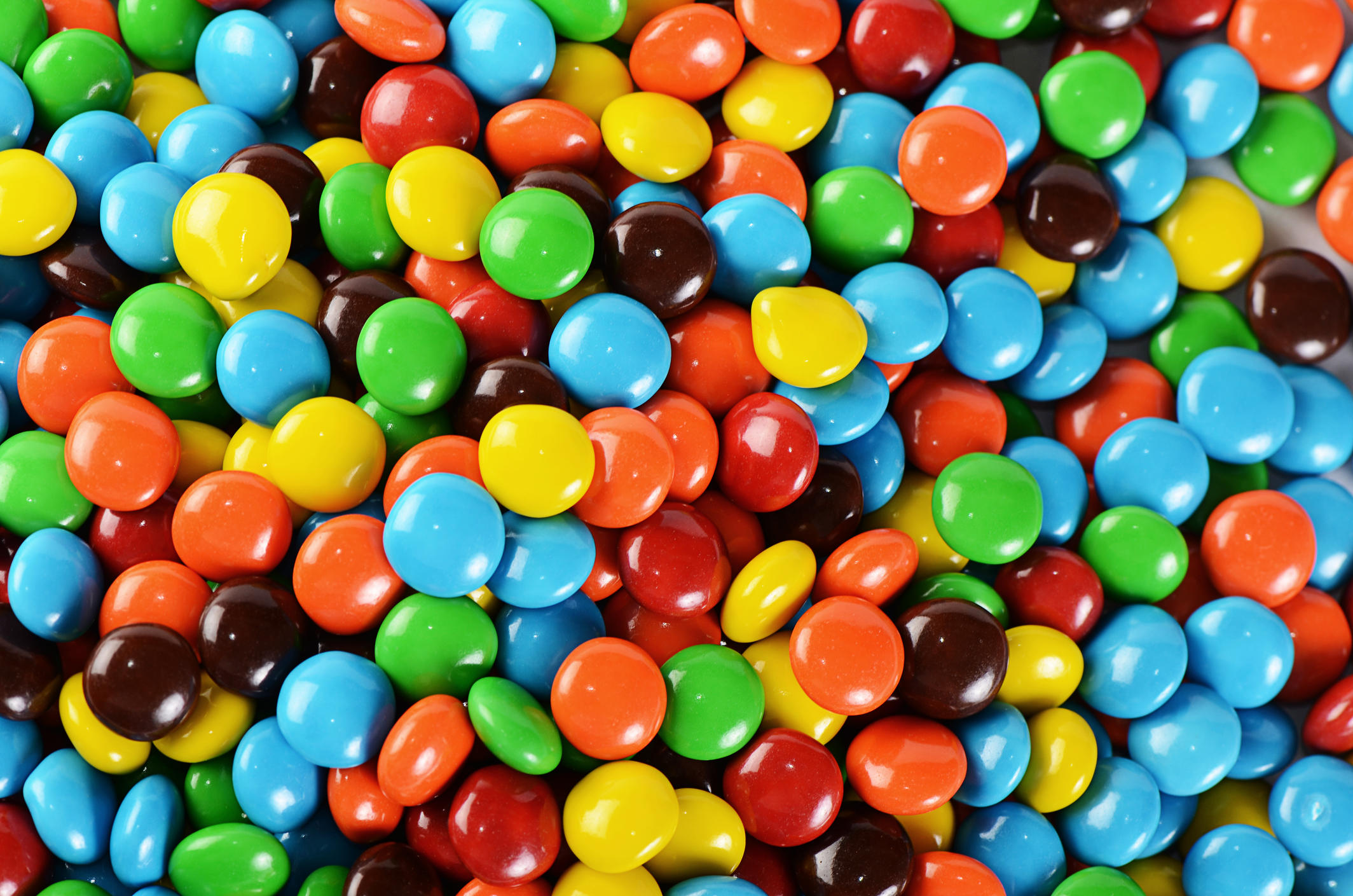 Closeup of pile of colorful chocolate candies