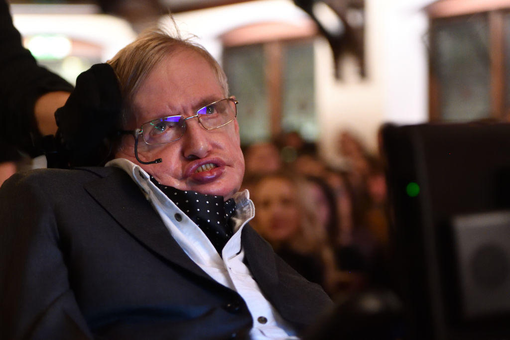 Stephen Hawking addressing The Cambridge Union on November 21, 2017 in Cambridge, Cambridgeshire.