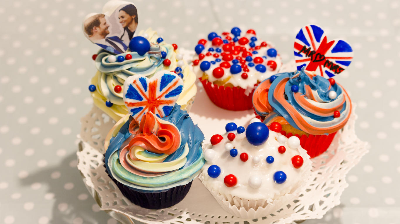 Red White and Blue, British Royal Wedding celebration cupcakes , Prince  Harry and Meghan