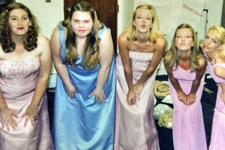 At her sister's wedding, Annabelle couldn't wear the same dress as the other bridesmaids. This photo is meant to be fun memento of the day, but for Annabelle, it brought up sad memories.