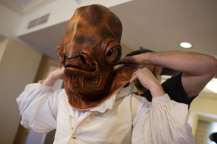 For this year's Comic-Con, Adam walked the show floor as the inimitable Admiral Ackbar. To craft his perfect Ackbar mask, Adam teamed up with makeup master Frank Ippolito, of SyFy's Face Off, to bring the regal Mon Calamarian to life.