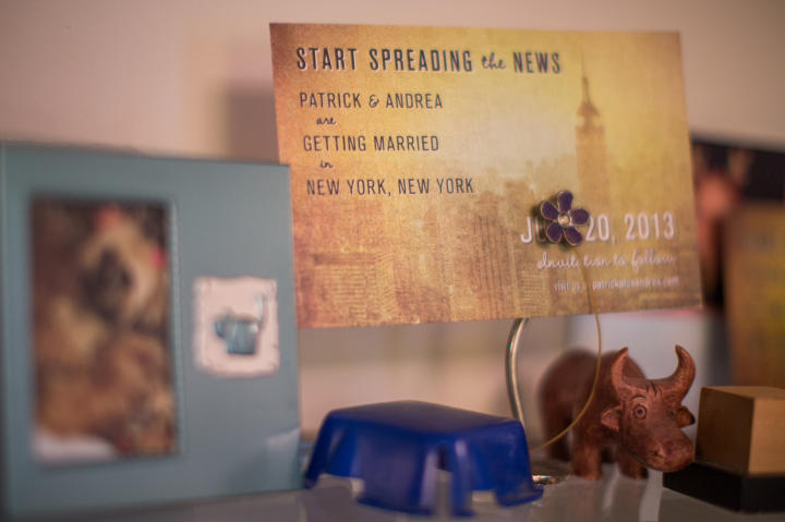 "Patrick and Andrea's save-the-dates were based on a lyrics from Frank Sinatra's famous song ""Theme From New York, New York."""