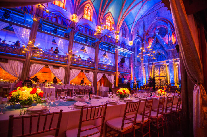 The venue is a renovated synagogue in New York. The space can act as both a ceremony and reception space.
