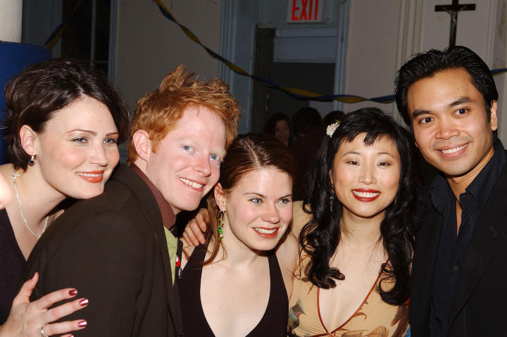 In 2005, Jesse Tyler Ferguson, second from left, attends the   after-party for the Tony Award-winning musical